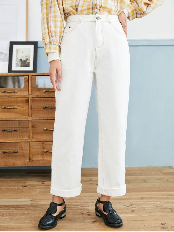 chic Pocket High Rise Straight Loose Fit Jeans - WHITE M