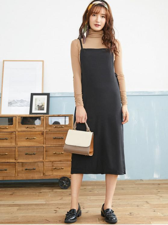 buy Cami Sleeveless Midi Pinafore Dress - BLACK ONE SIZE