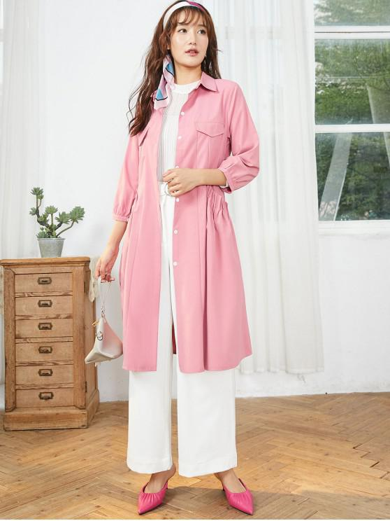 chic Pleated Pockets Belted Coat - PINK L