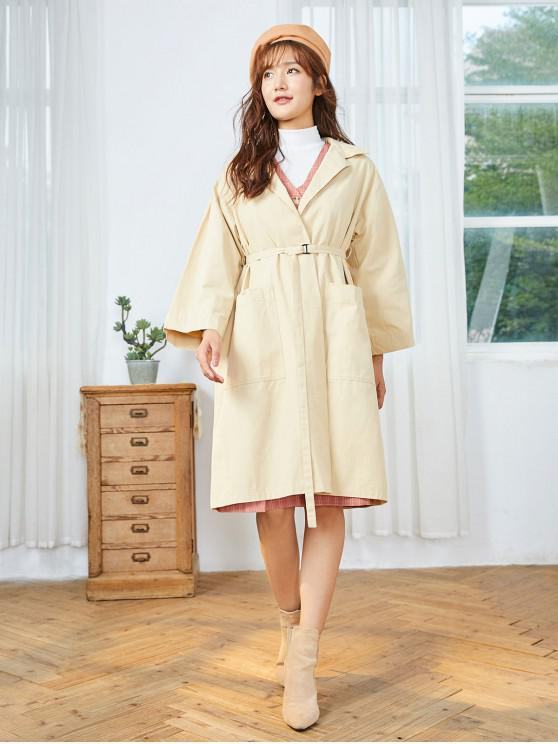 outfits Front Pocket Belted Trench Coat - LIGHT KHAKI ONE SIZE