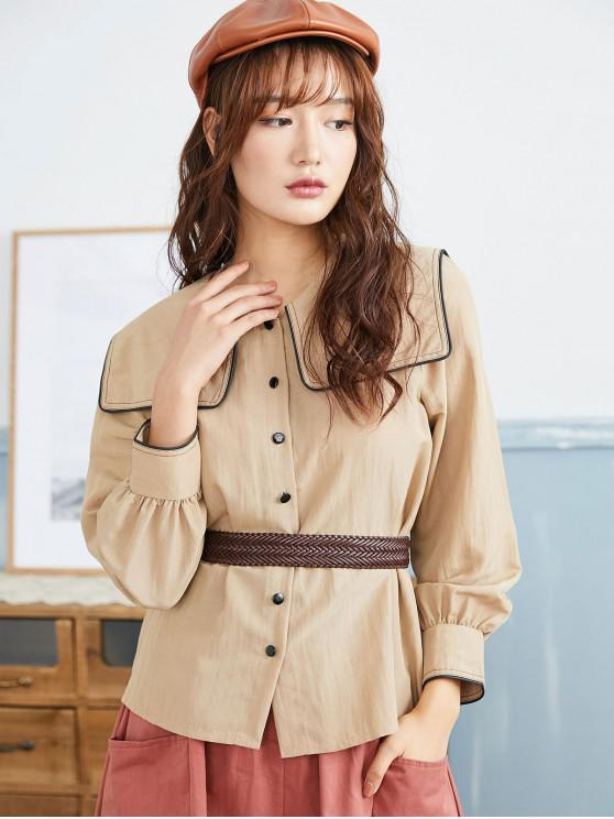 best Turn Down Collar Button Up Contrast Binding Shirt - TAN L