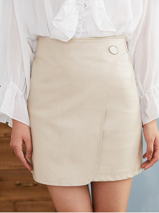 trendy Foldover Faux Leather Skirt - CRYSTAL CREAM M