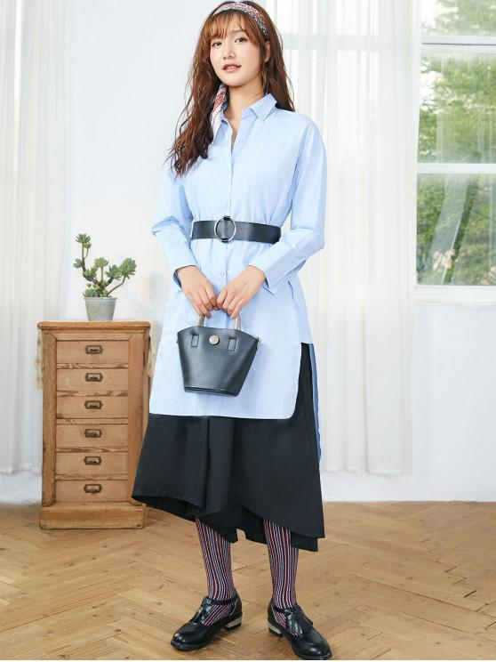 women's High Low Longline Shirt - DAY SKY BLUE L