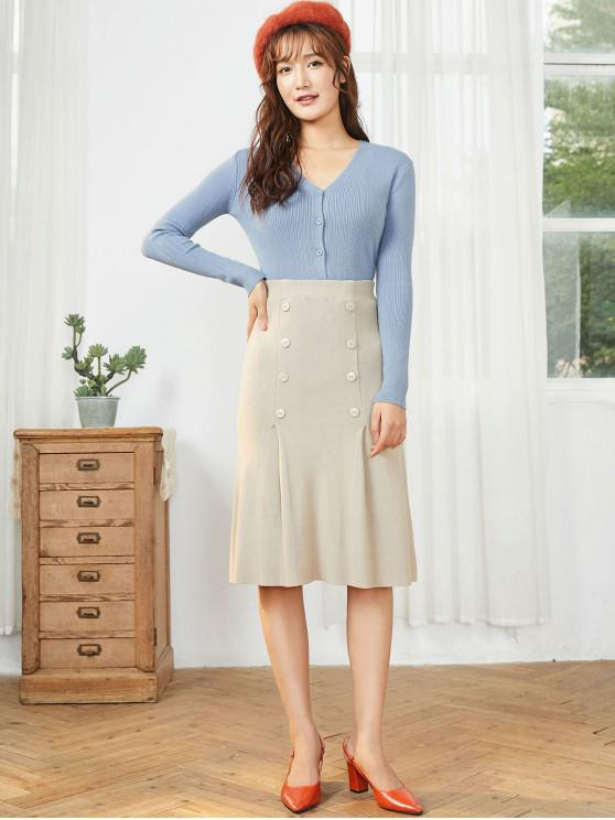 lady Buttoned Knit Two Piece Dress - BLUE GRAY ONE SIZE