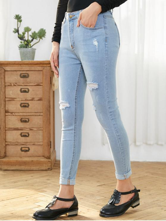 women Light Wash Ripped Skinny Jeans - DENIM BLUE L