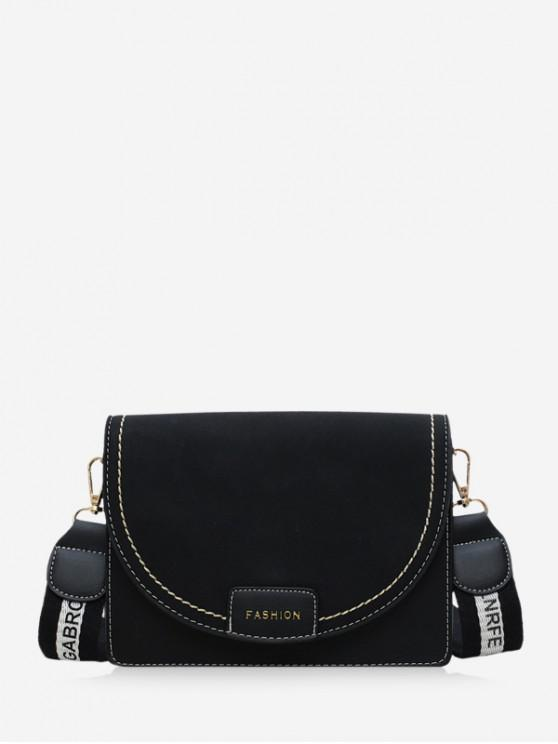 ตัวอักษรเข็มขัดสแควร์กระเป๋าสะพาย - สีดำ