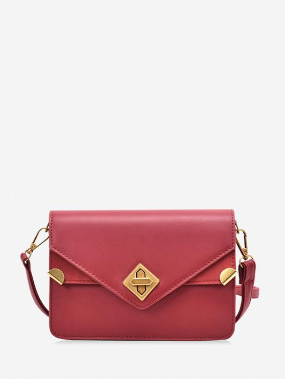 outfits Hasp PU Leather Envelope Crossbody Bag - RED