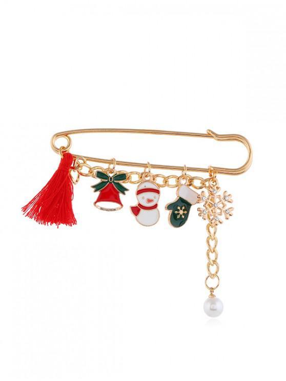 best Christmas Tassel Pendant Safe Pin Brooch - GOLD STYLE3