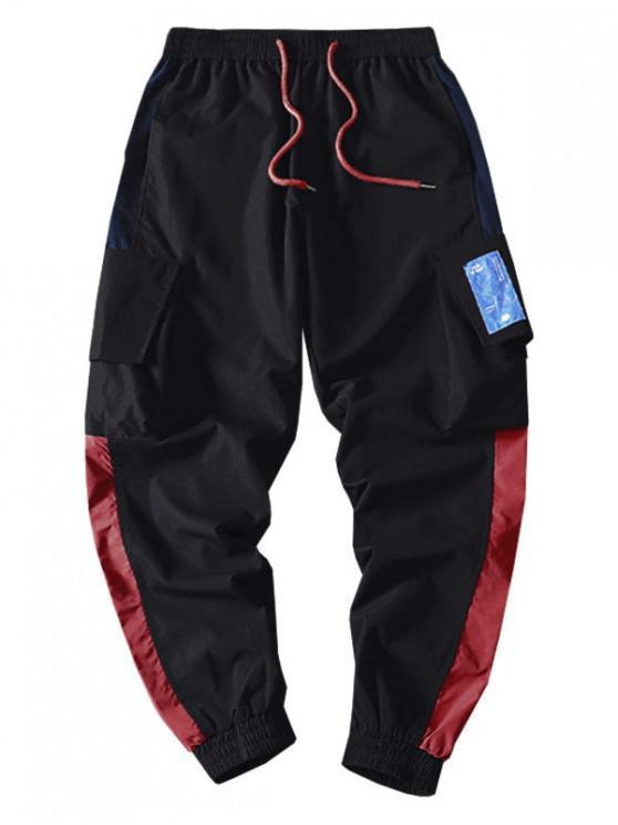 shop Pocket Decorated Color Spliced Casual Pants - BLACK 3XL