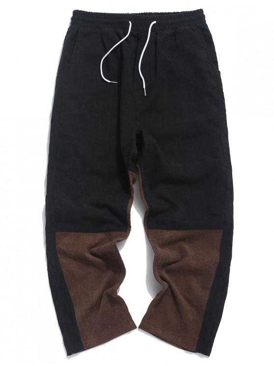 women's Color-blocking Drawstring Casual Pants - BLACK 2XL