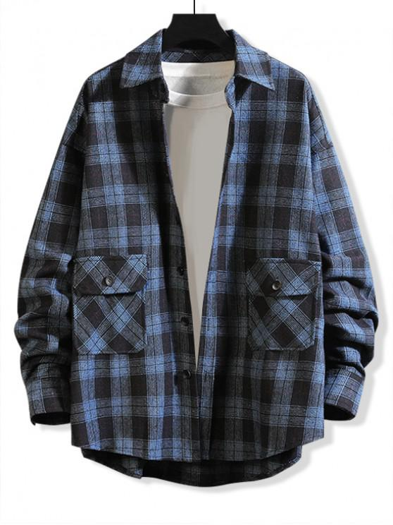 ladies Plaid Pattern Pocket Decorated Button Up Shirt - CADETBLUE XL