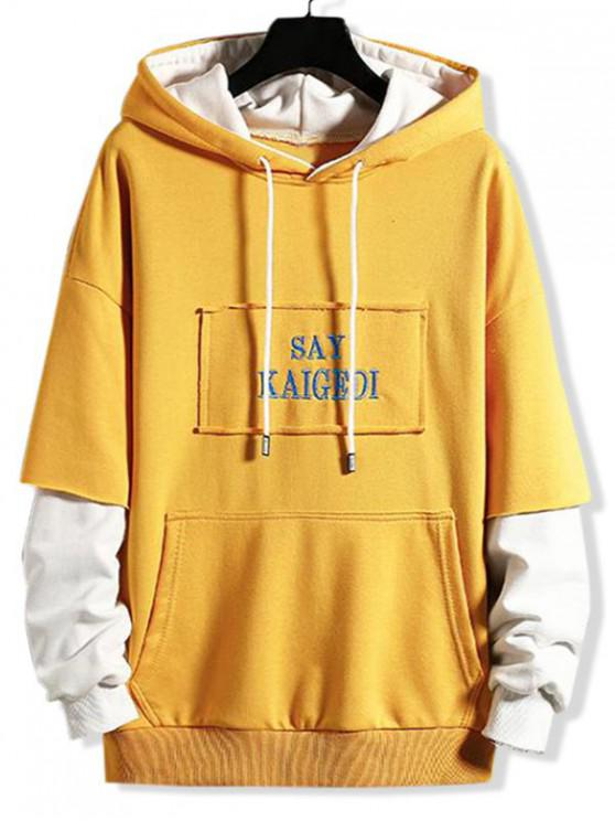 chic Letter Embroidery Patchwork Colorblock Faux Twinset Hoodie - RUBBER DUCKY YELLOW 3XL