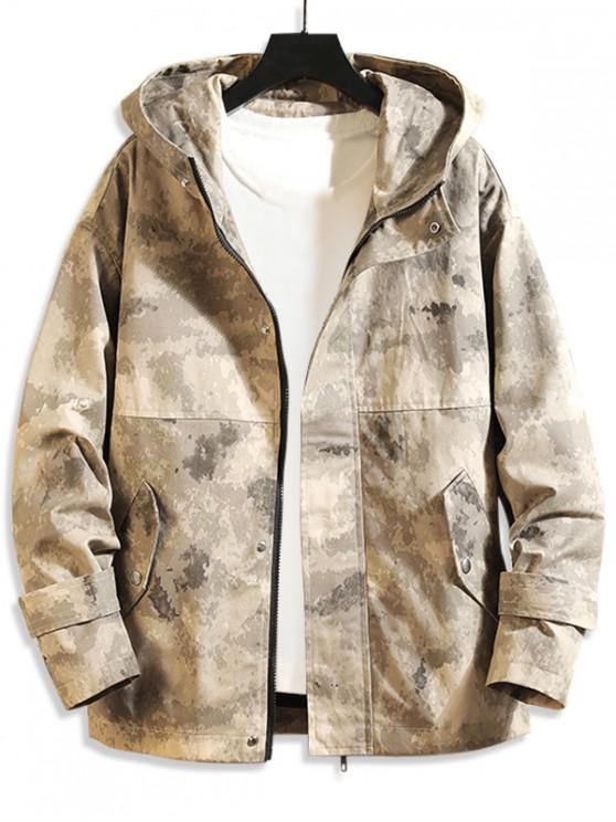 hot Camo Print Pocket Decorated Zip Up Jacket - THREE SAND CAMOUFLAGE 4XL