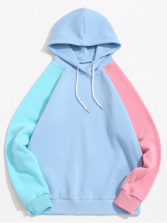 fashion Color Blocking Spliced Drawstring Raglan Sleeve Hoodie - MULTI XL