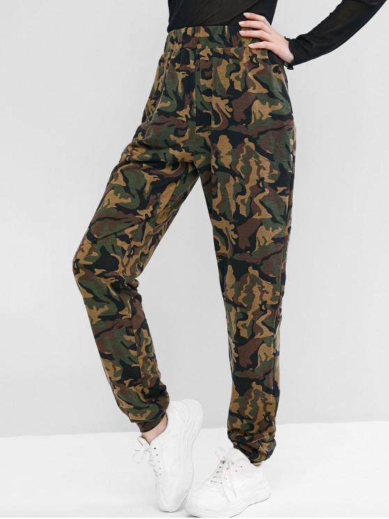 unique ZAFUL Camouflage Elastic Waist Casual Pants - MULTI-A L