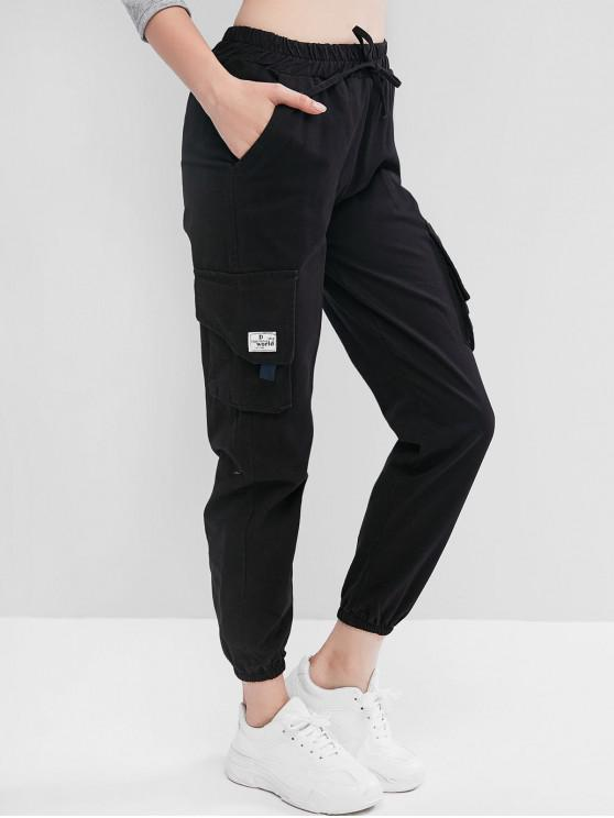 ladies Patch Flap Pocket Jogger Pants - BLACK S