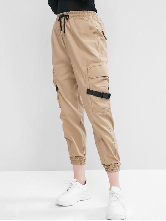 lady Drawstring Buckled Jogger Pants - LIGHT KHAKI L