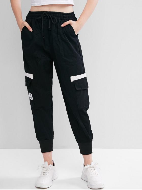 online Drawstring Flap Pocket Casual Jogger Pants - BLACK M