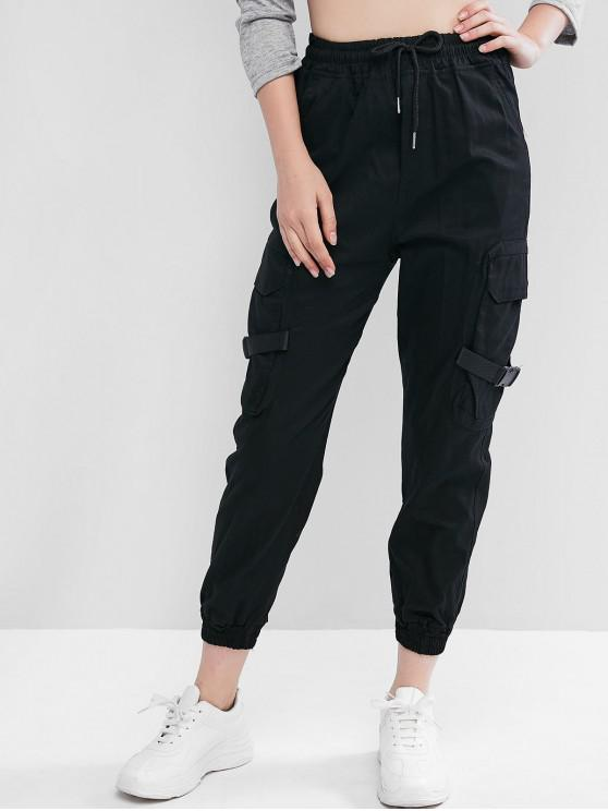 latest Drawstring Buckled Jogger Pants - BLACK S