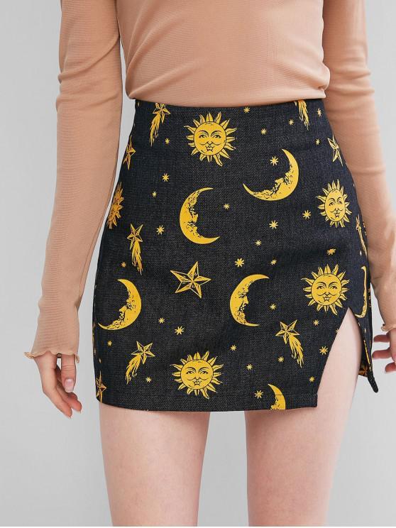 ZAFUL fotografica Sol y la Luna Denim Minifalda - Negro S