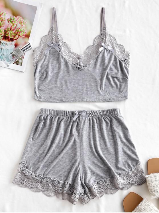 affordable Lace Trim Short Pajama Set - GRAY CLOUD M