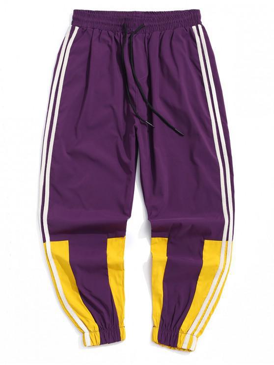 new Casual Color Spliced Jogger Pants - PURPLE 2XL