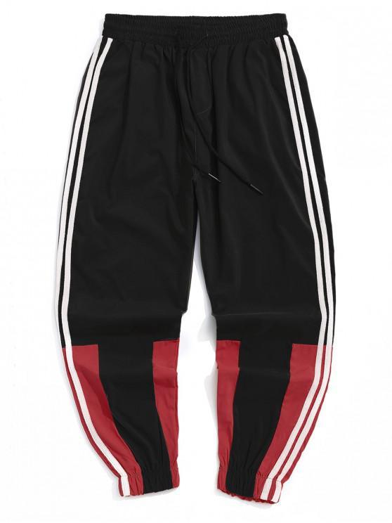 hot Casual Color Spliced Jogger Pants - BLACK 2XL