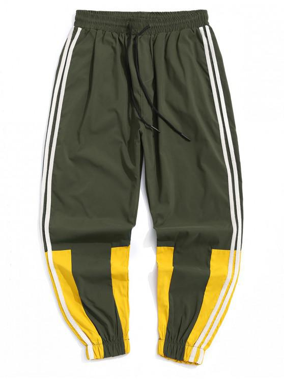 Pantalones casuales color empalmado del basculador - Ejercito Verde 3XL