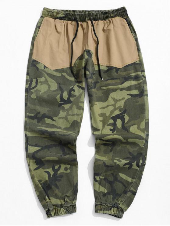 lady Camo Printed Pocket Design Jogger Pants - KHAKI 2XL