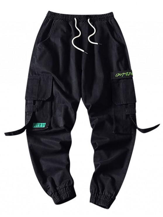 unique Letter Pattern Pocket Decorated Cargo Pants - BLACK XL