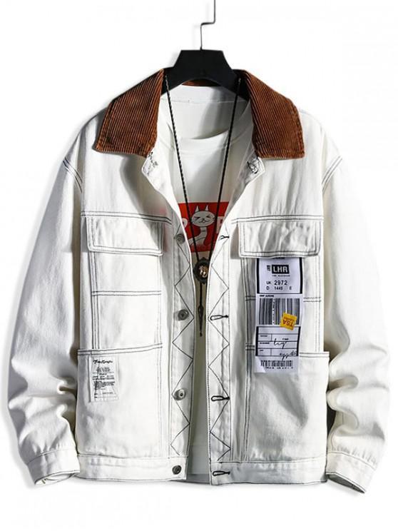 new Pocket Design Letter Print Button Jacket - WHITE 2XL