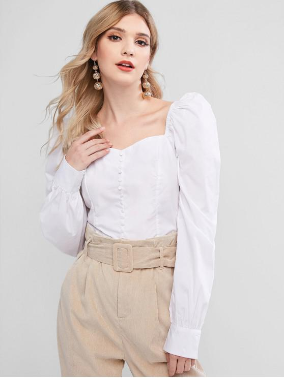 hot Sweetheart Button Embellished Smocked Blouse - WHITE L