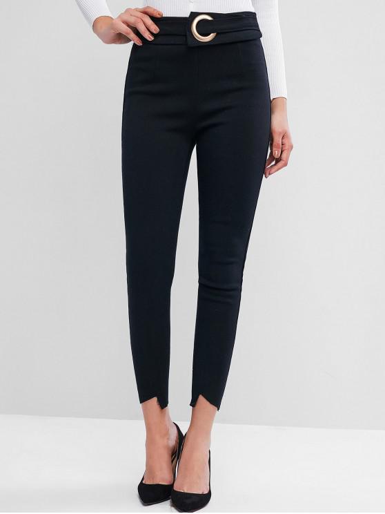 ladies Cut Out Frayed Hem O Ring Pants - BLACK S