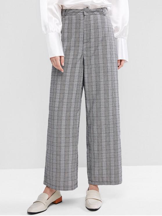 best Office High Waisted Plaid Wide Leg Pants - MULTI L