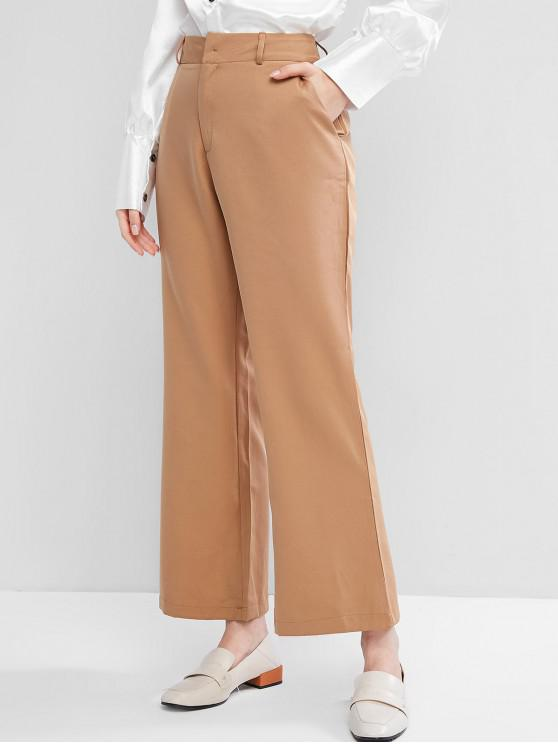 latest Solid Pockets Office Wide Leg Pants - LIGHT BROWN S