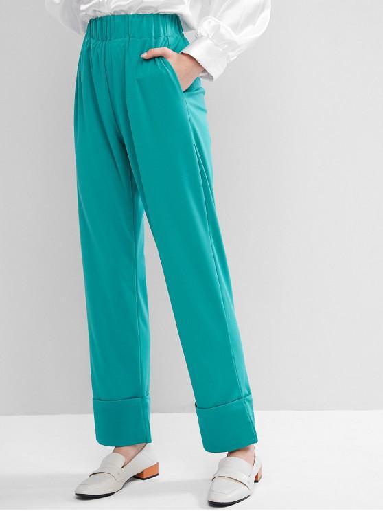 chic High Waisted Seam Pockets Cuffed Hem Straight Pants - MACAW BLUE GREEN S