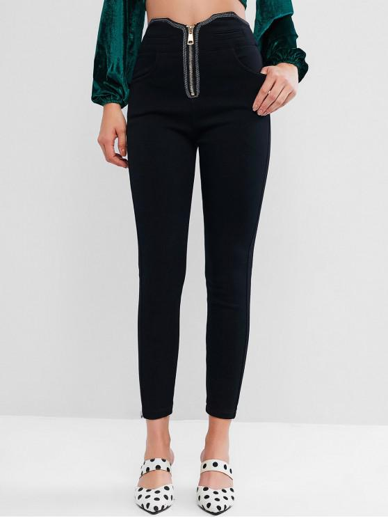 women's Zip Front Skinny Pants with Pockets - BLACK XS