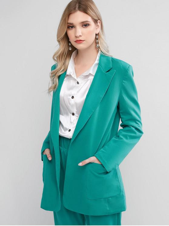 outfits Patched Pockets Solid Open Placket Blazer - MACAW BLUE GREEN L