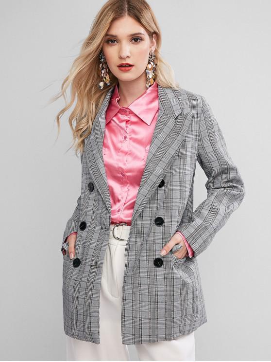 Bolsillos con solapa doble de pecho chaqueta a cuadros - Multicolor L