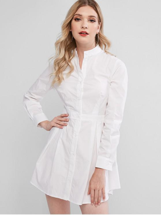 ladies Button Up Stand Collar Mini Dress - WHITE M