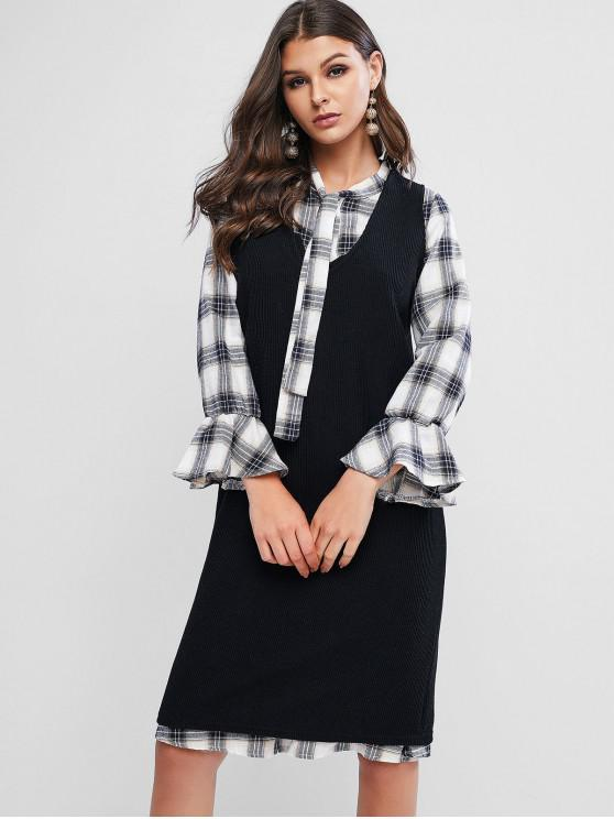 women's Plaid Poet Sleeves Bowtie Two Piece Dress Set - BLACK 3XL