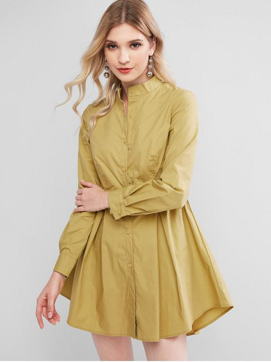 chic Button Up Stand Collar Mini Dress - GOLDENROD S