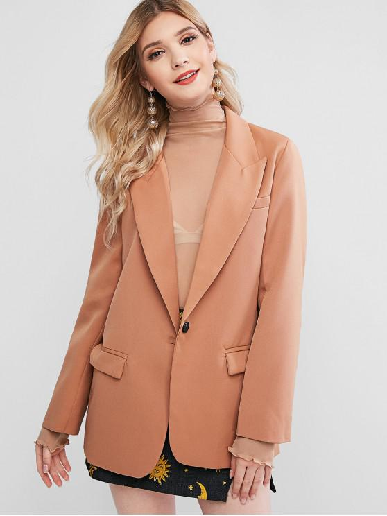 chic Shoulder Pads One Buttoned Flap Pockets Blazer - LIGHT BROWN L
