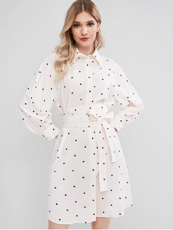 shops Heart Raglan Sleeve Belted Dress - BEIGE M