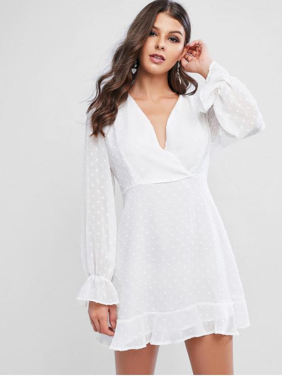 women Swiss Dot Poet Sleeves Ruffles Surplice Dress - WHITE XL
