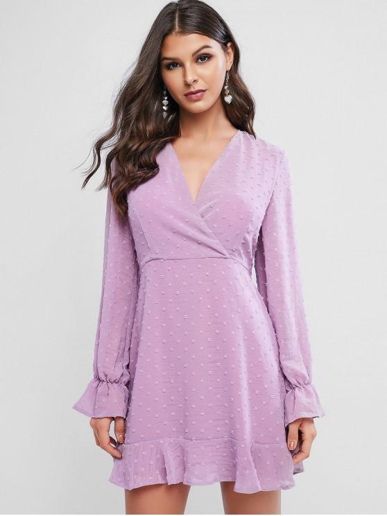 瑞士詩人點袖荷葉邊連衣裙冥衣 - 紫丁香 M