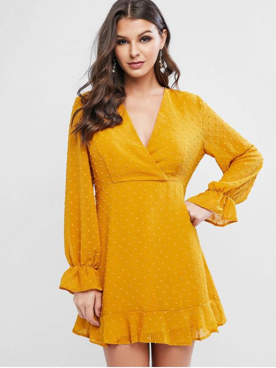 shop Swiss Dot Poet Sleeves Ruffles Surplice Dress - ORANGE GOLD S