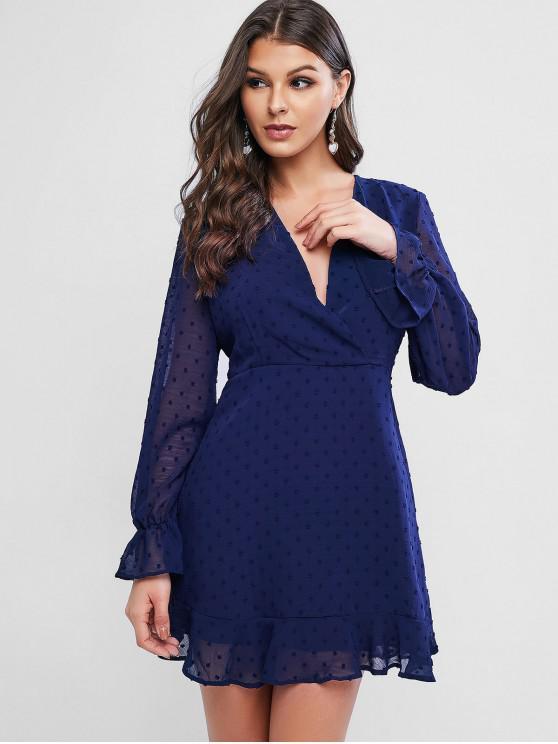 buy Swiss Dot Poet Sleeves Ruffles Surplice Dress - MIDNIGHT BLUE M