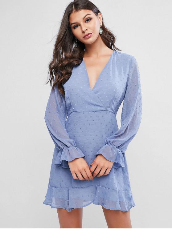 lady Swiss Dot Poet Sleeves Ruffles Surplice Dress - BLUE GRAY M