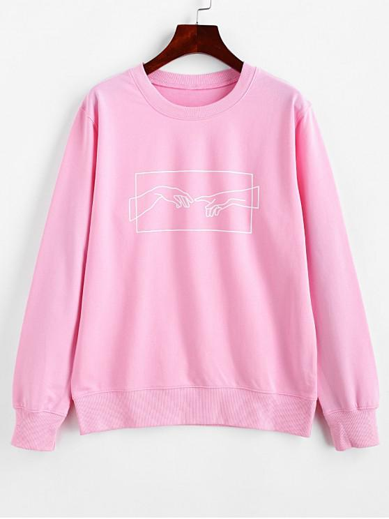 chic ZAFUL Hands Graphic Basic Pullover Sweatshirt - PINK M
